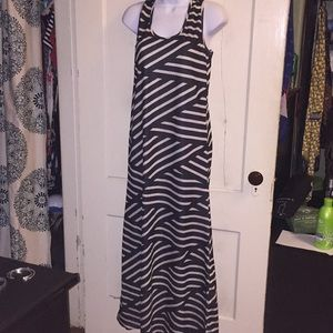Black and Cream Striped Icon Apparel maxi dress